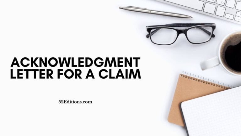 Acknowledgment Letter For A Claim