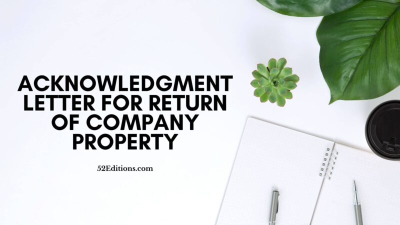 Acknowledgment Letter For Return of Company Property