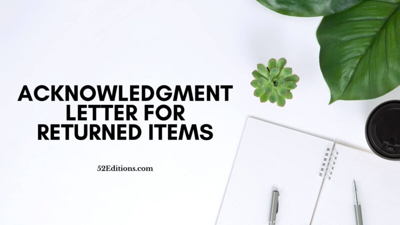 Acknowledgment Letter For Returned Items
