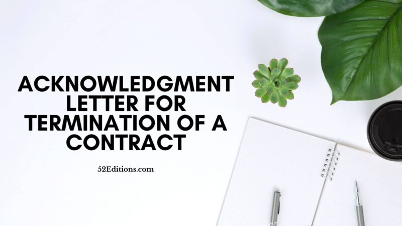 Acknowledgment Letter For Termination of a Contract