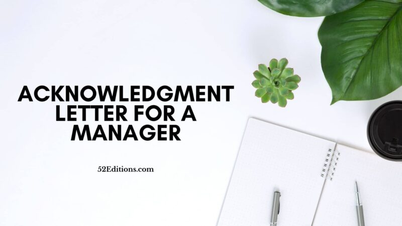 Acknowledgment Letter For a Manager