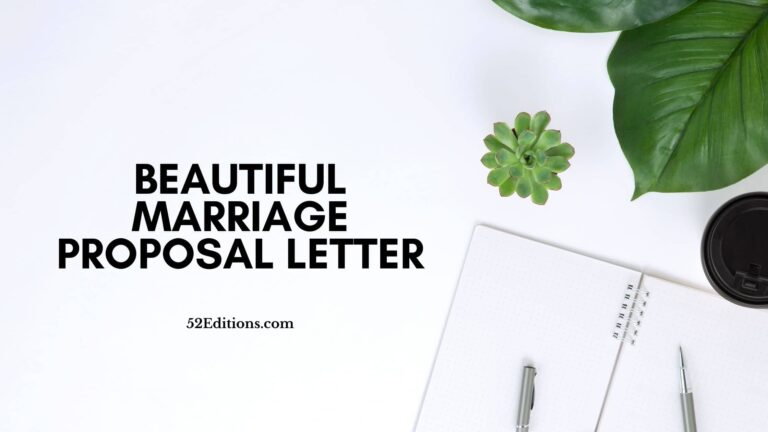 Beautiful Marriage Proposal Letter