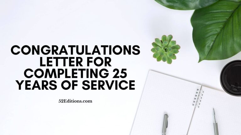 Congratulations Letter For Completing 25 Years Of Service