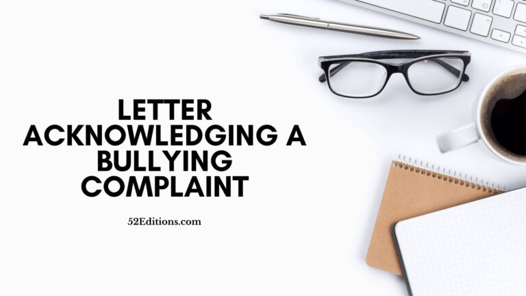 Letter Acknowledging A Bullying Complaint
