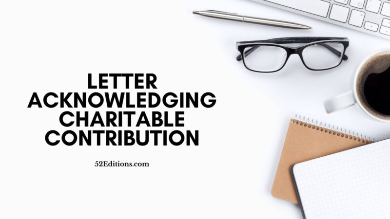 Letter Acknowledging Charitable Contribution