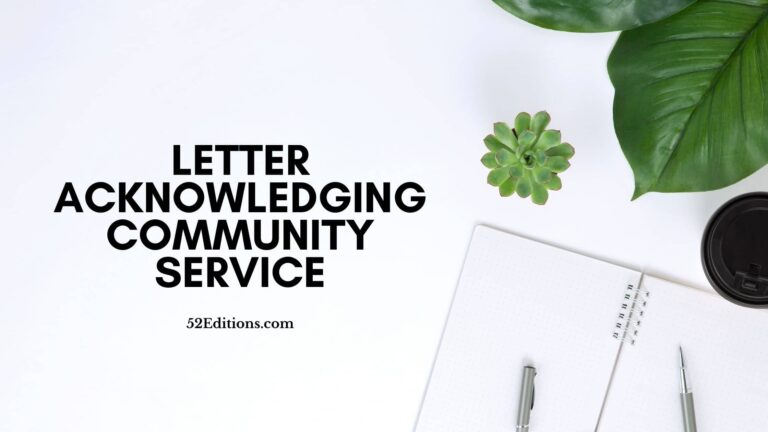 Letter Acknowledging Community Service