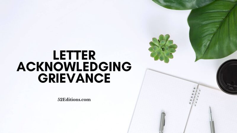 Letter Acknowledging Grievance