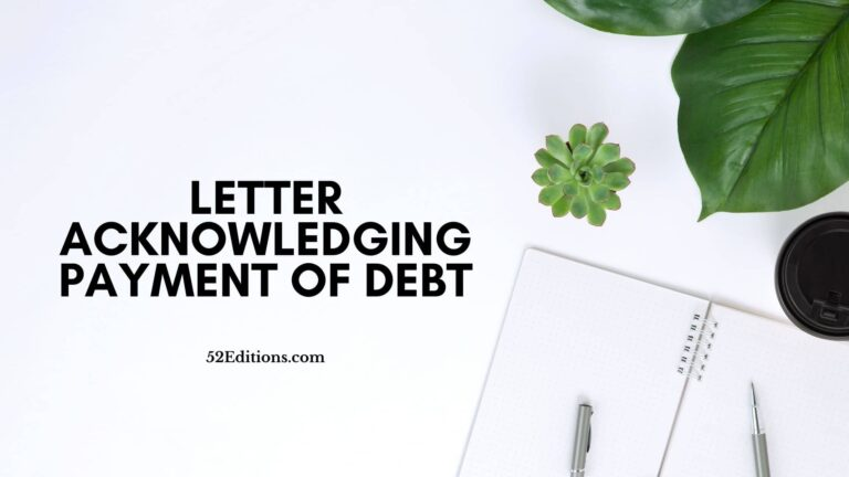 Letter Acknowledging Payment of Debt