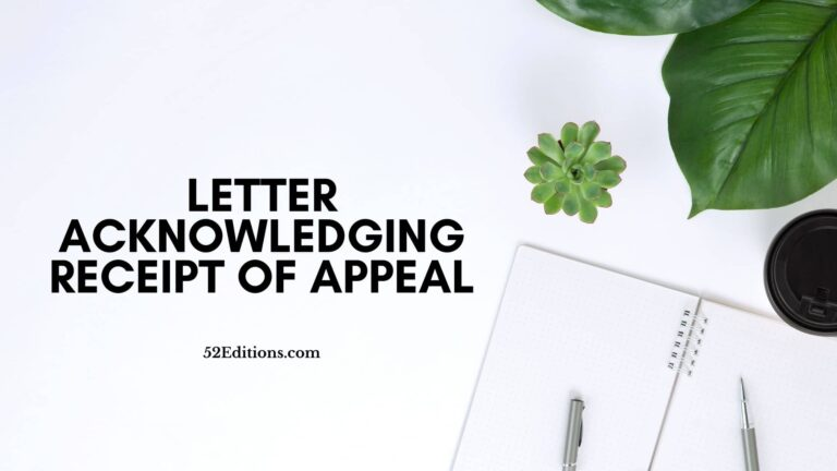 Letter Acknowledging Receipt of Appeal