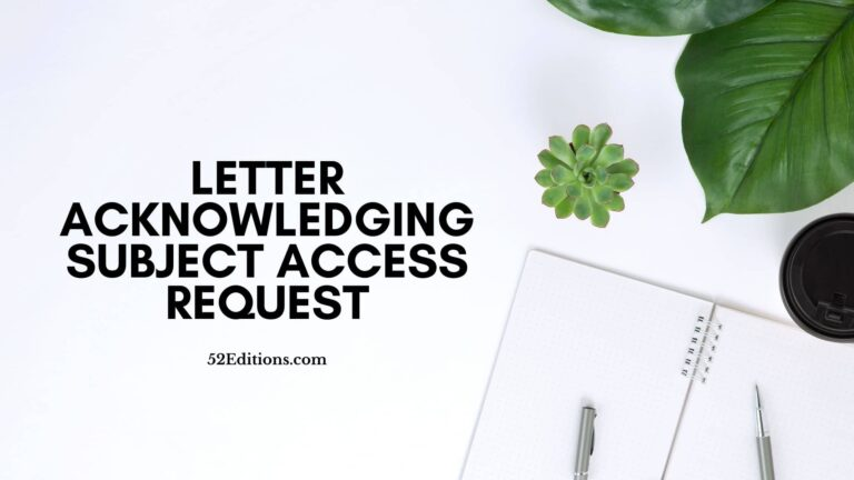 Letter Acknowledging Subject Access Request