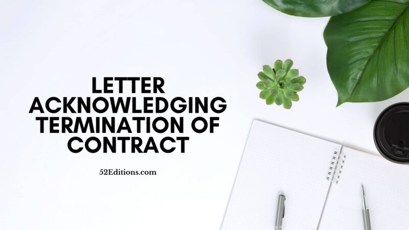 Letter Acknowledging Termination of Contract