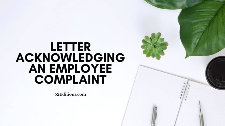 Letter Acknowledging an Employee Complaint