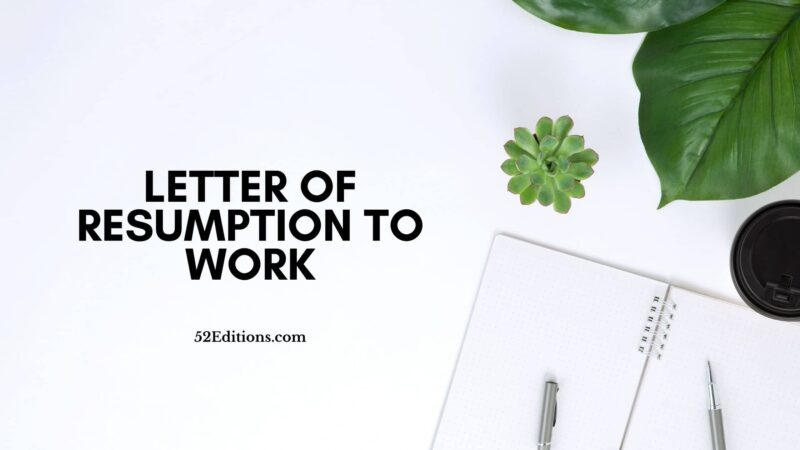 Letter of Resumption To Work