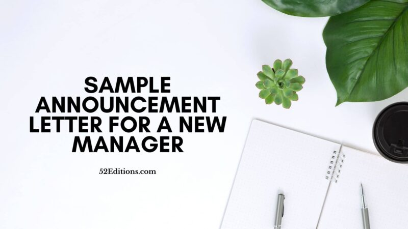 Sample Announcement Letter For a New Manager