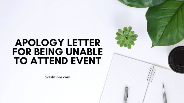 Apology Letter For Being Unable To Attend Event