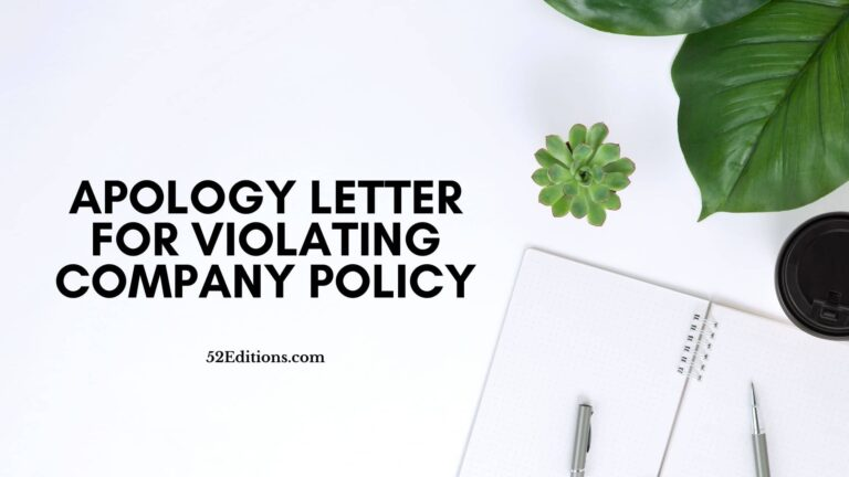 Apology Letter For Violating Company Policy