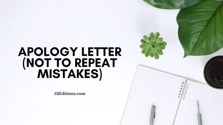 Apology Letter (Not To Repeat Mistakes)