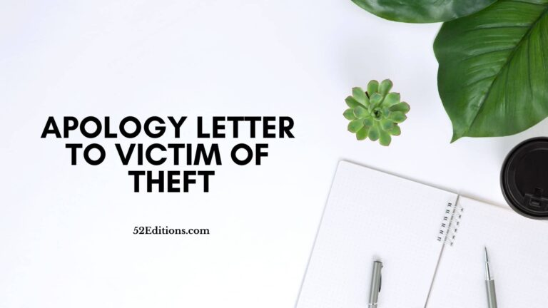 Apology Letter To Victim of Theft