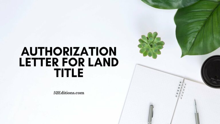 Authorization Letter For Land Title