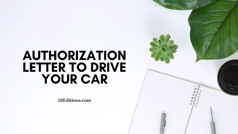Authorization Letter To Drive Your Car