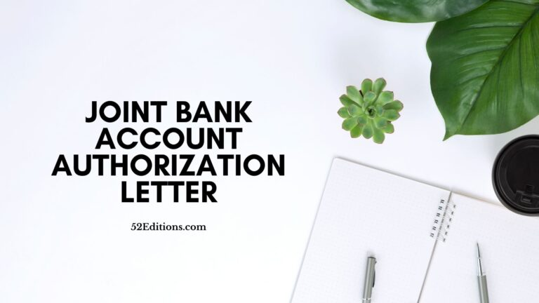 Joint Bank Account Authorization Letter