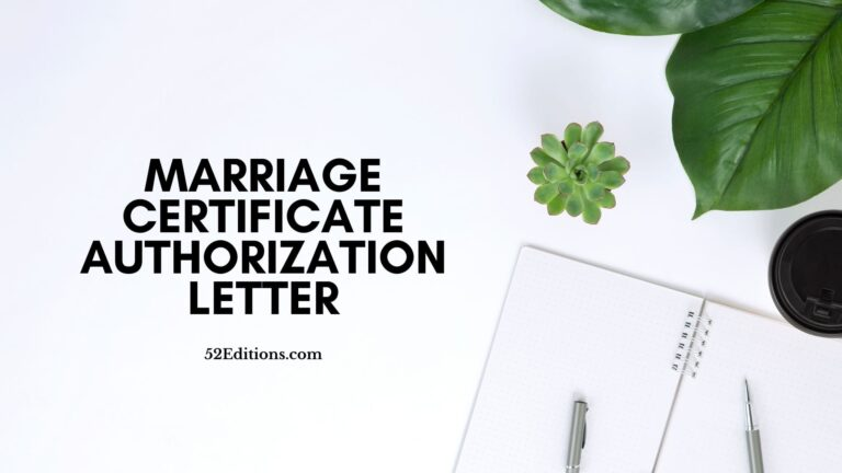 Marriage Certificate Authorization Letter