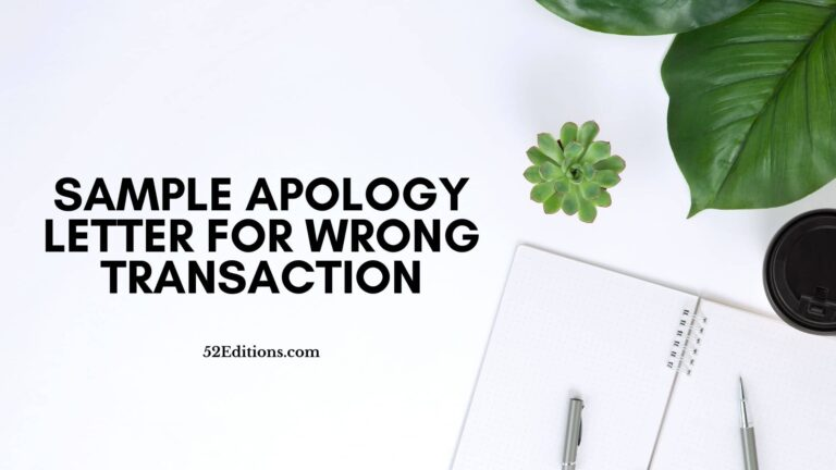 Sample Apology Letter For Wrong Transaction