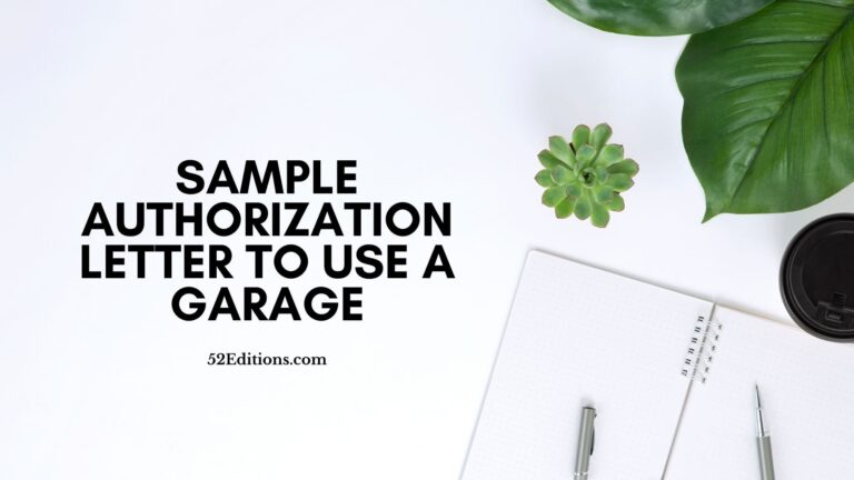 Sample Authorization Letter To Use A Garage