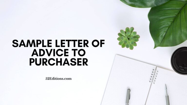 Sample Letter of Advice To Purchaser