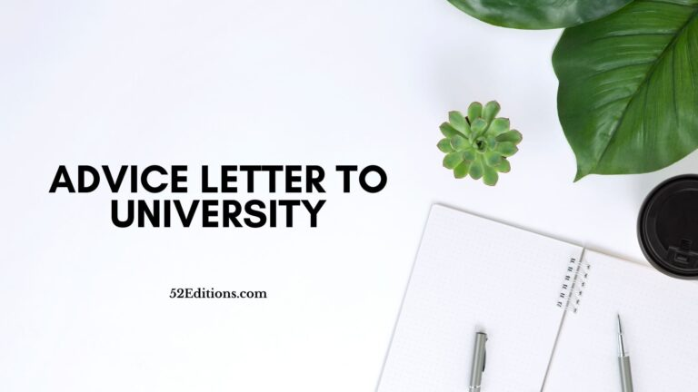Advice Letter To University