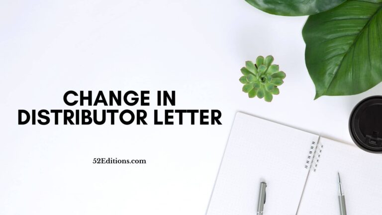 Change In Distributor Letter