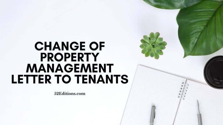 Change Of Property Management Letter To Tenants