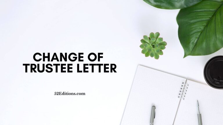 Change Of Trustee Letter