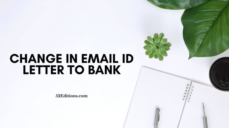 Change in Email ID Letter To Bank