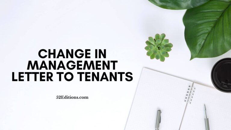 Change in Management Letter To Tenants