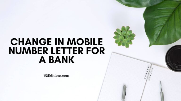 Change in Mobile Number Letter For A Bank