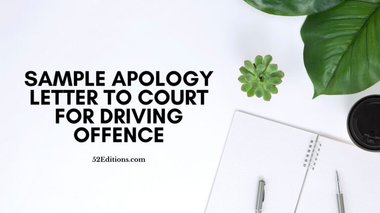 Sample Apology Letter To Court For Driving Offence