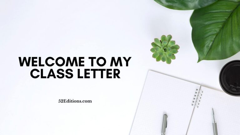 Welcome To My Class Letter